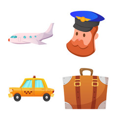 isolated object of airport and airplane logo vector image