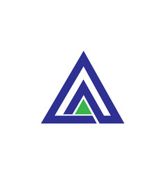 Letter a logo with a triangle shape with two a ins vector