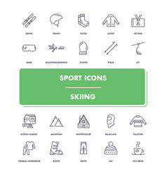 line sport icons set skiing vector image