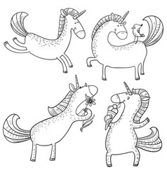 magic unicorns set mistycal doodle horse with vector image