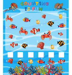 Math counting game underwater template vector
