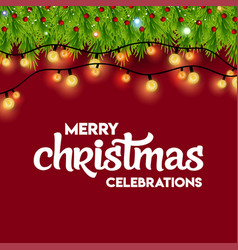 merry christmas celebrations lighting background vector image