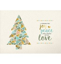 Merry christmas new year triangle tree gold retro vector image