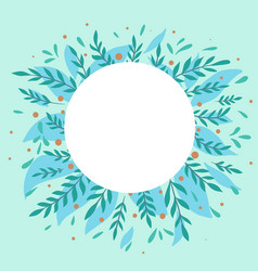 nature greeting card round frame with flat vector image