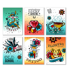 Old school tattoo cards set vector