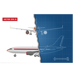 outline drawing of plane on a blue background vector image