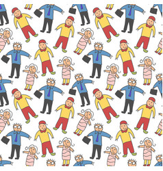 pattern seamless kids with adults doodle element vector image