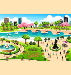 people visiting a public park vector image