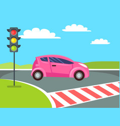 pink mini car going to cross pedestrian crossing vector image