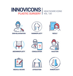 plastic surgery - line design style icons vector image