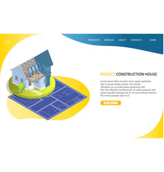 project construction house landing page website vector image
