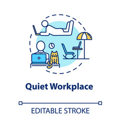 Quiet workplace concept icon personal work space vector