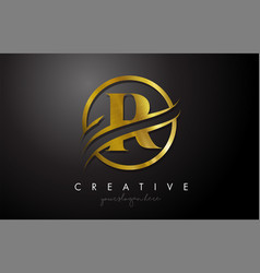 R golden letter logo design with circle swoosh vector