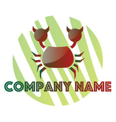 red and green crab logo design on a white vector image