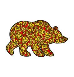 Russian Bear hohloma style National Folk painting vector