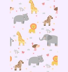 seamless pattern with cute savanna animals vector image