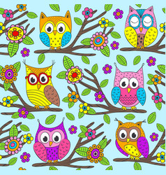 Seamless pattern with funny owls on branch vector