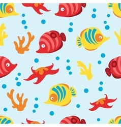 Seamless pattern with sea life on blue background vector