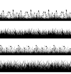 Seamless wild herbs flowers and grass silhouettes vector image