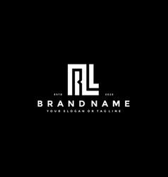 Set letter rl logo design vector