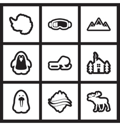 Set of flat icon in black and white style arctic vector