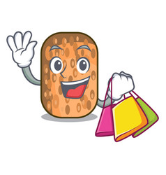 Shopping fried tempeh in bowl character wooden vector