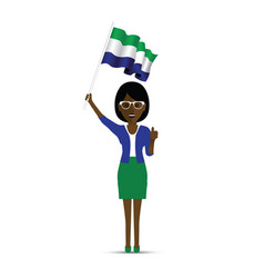 Sierra leone flag waving woman vector
