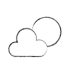 sketch draw sun and cloud vector image