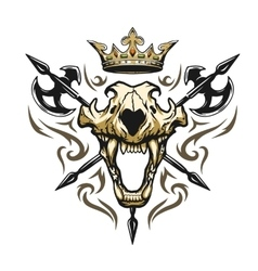 Skull of a lion crown heraldic emblem vector