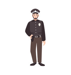 smiling police officer policeman cop or law vector image