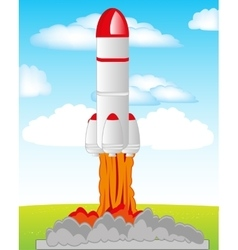 Start the rocket in cosmos vector