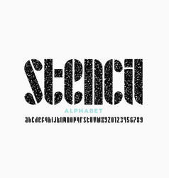 stencil style font vector image