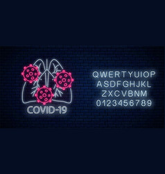 Stop coronavirus neon sign with alphabet covid-19 vector