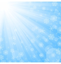 Sun beams and snowflakes vector image