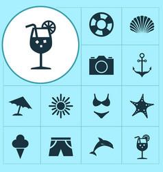 Sun icons set collection mammal bikini conch vector