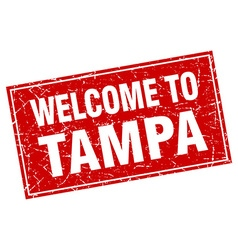 Tampa red square grunge welcome to stamp vector