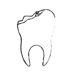 Tooth with root and broken in monochrome blurred vector