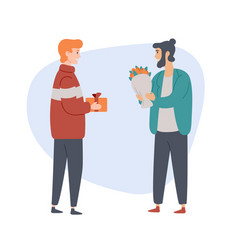 two men with gifts stand and talk to each other vector image