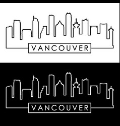 vancouver skyline colorful linear style vector image
