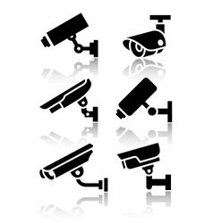 Video surveillance new big set stickers vector