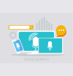 Voice search banner computer laptop and phone vector