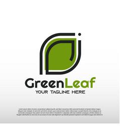 Webgreen leaf logo with line art design eco vector