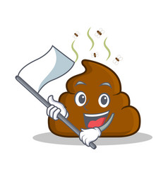 With flag poop emoticon character cartoon vector