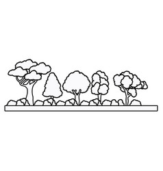 collection tree forest natural foliage outline vector image