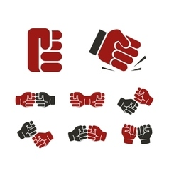 Isolated abstract red and black fists logo set vector image