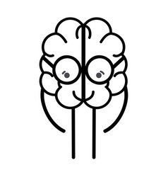 line icon adorable kawaii brain with glasses vector image vector image