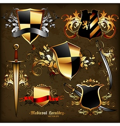 set of medieval heraldry vector image