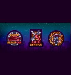 auto service repair collection of logo in neon vector image vector image
