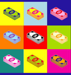 bank note dollar sign pop-art style vector image vector image