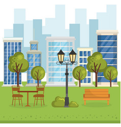 buildings with cityscape scene vector image